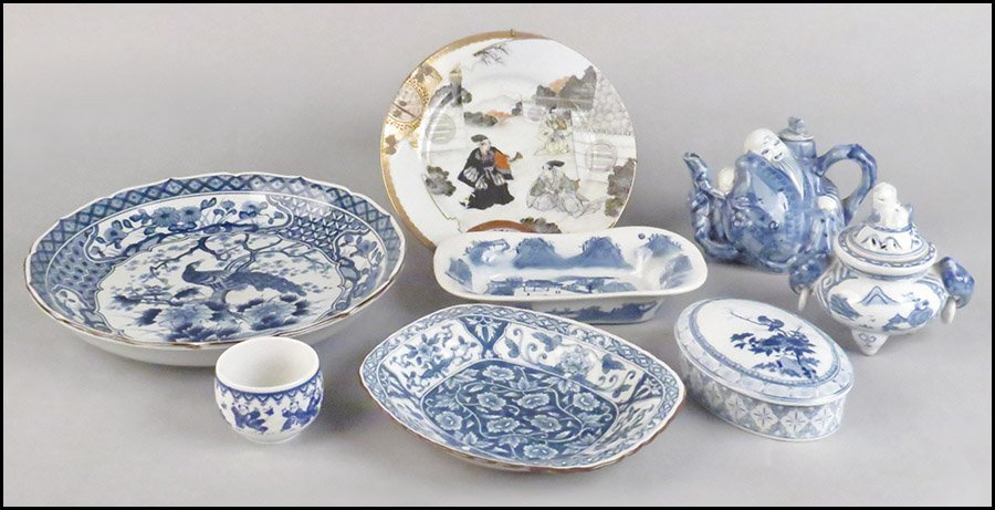 COLLECTION OF BLUE AND WHITE PORCELAIN DECORATIVE ITEMS