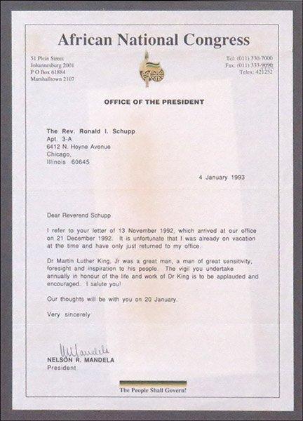 NELSON MANDELA (SOUTH AFRICAN, B. 1918) SIGNED LETTER.