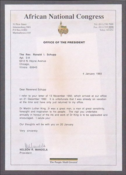 NELSON MANDELA (SOUTH AFRICAN, B. 1918) SIGNED LETTER.