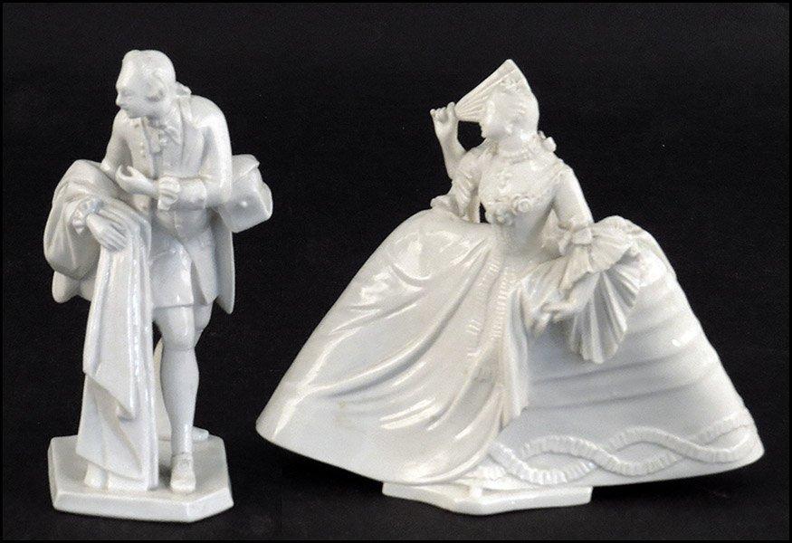 TWO NYMPHENBERG 19TH CENTURY PORCELAIN WHITE GLAZED FIG
