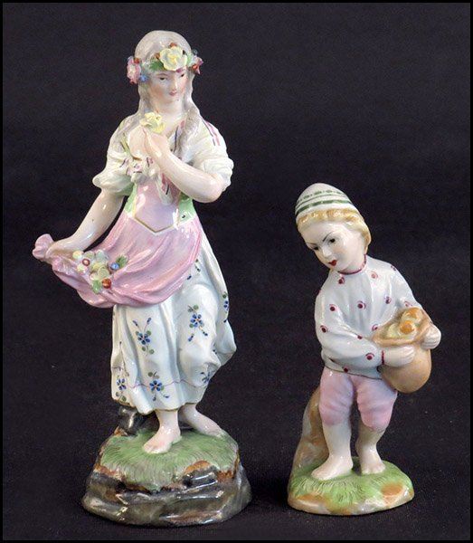 TWO HOCHST 19TH CENTURY PORCELAIN FIGURES.