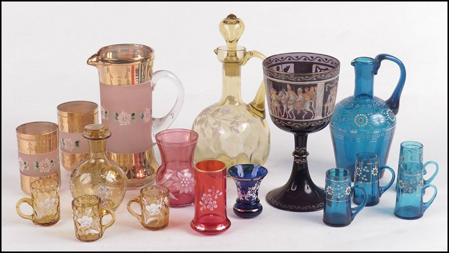 GROUP OF CZECH BOHEMIAN STYLE GLASS TABLE ARTICLES.