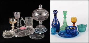 COLLECTION OF MOLDED ETCHED AND CUT GLASS TABLE ARTIC