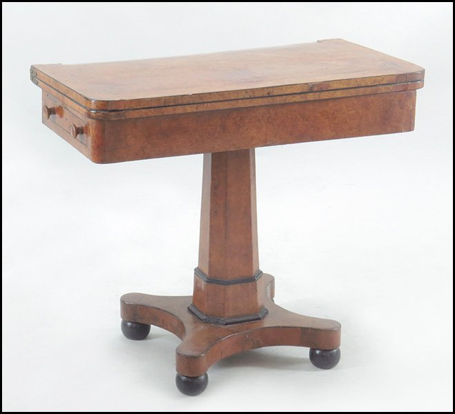 BIEDERMEIER BURL FLIP TOP GAMES TABLE.