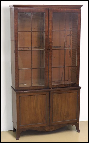 GEORGE III MAHOGANY CABINET ON STAND.