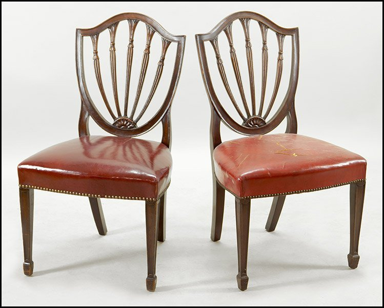 SET OF EIGHT HEPPLEWHITE MAHOGANY DINING CHAIRS.
