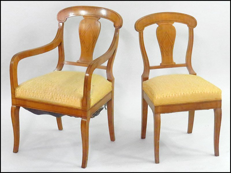 SET OF SIX BIEDERMEIER INLAID BIRCH DINING CHAIRS.