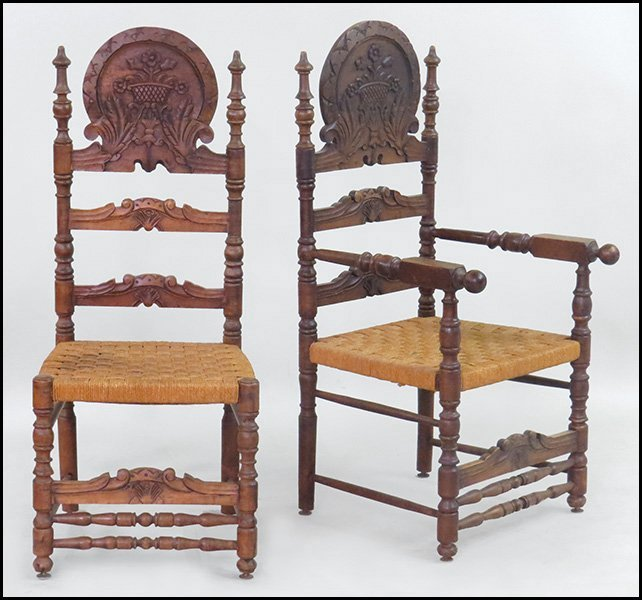 SET OF TEN CONTINENTAL CARVED OAK CHAIRS.