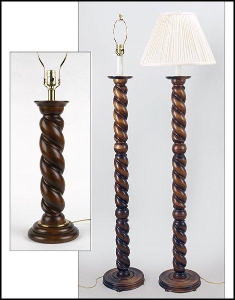 Pair Of Frederick Cooper Barley Twist Floor Lamps