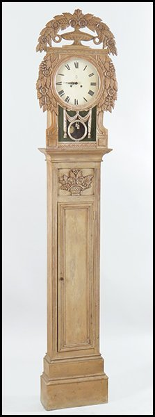 PICKLED PINE TALL CASE GRANDFATHER CLOCK.