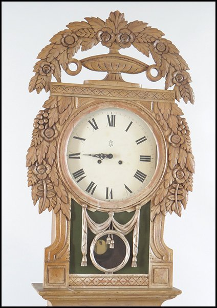 PICKLED PINE TALL CASE GRANDFATHER CLOCK. - 2