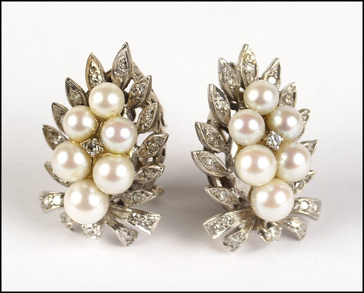 PAIR OF CULTURED PEARL, DIAMOND, AND 14 KARAT WHITE