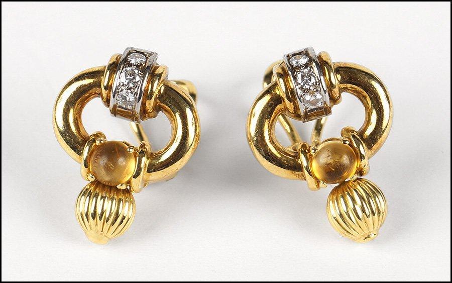 PAIR OF DIAMOND, CITRINE, AND 18 KARAT YELLOW GOLD