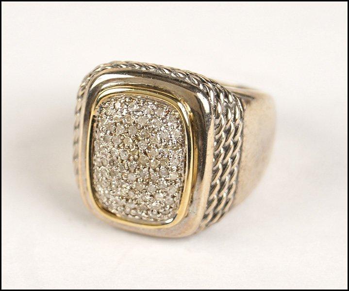 DIAMOND, STERLING SILVER, AND 14 KARAT YELLOW GOLD
