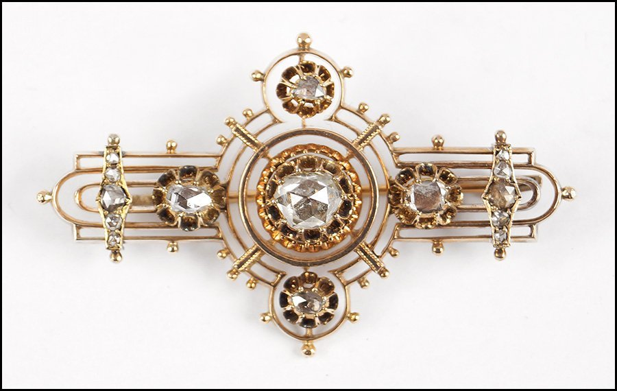 VICTORIAN GOLD AND DIAMOND BROOCH.