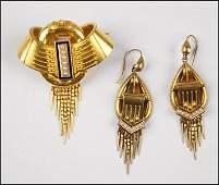 VICTORIAN 14 KARAT YELLOW GOLD PEARL AND ENAMEL