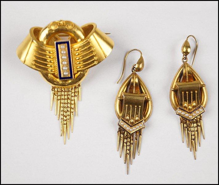 VICTORIAN 14 KARAT YELLOW GOLD, PEARL, AND ENAMEL