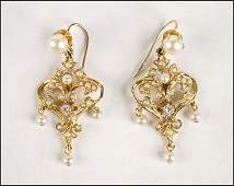 PAIR OF VICTORIAN PEARL DIAMOND AND 14 KARAT YELLOW