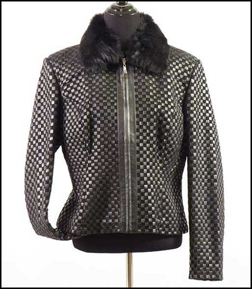 9a97b572b5 MARVIN RICHARDS WOVEN LEATHER JACKET.
