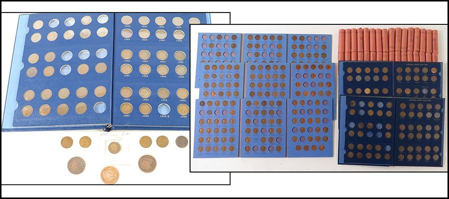 COLLECTION OF LARGE CENT PENNIES AND LINCOLN HEAD PENNI