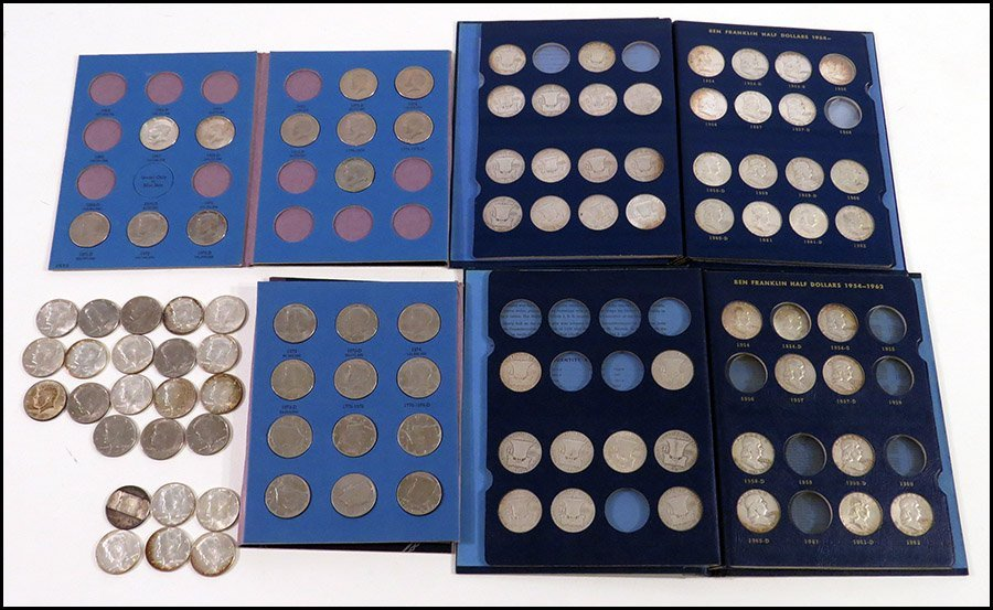 COLLECTION OF SILVER FRANKLIN HALVES AND KENNEDY HALVES