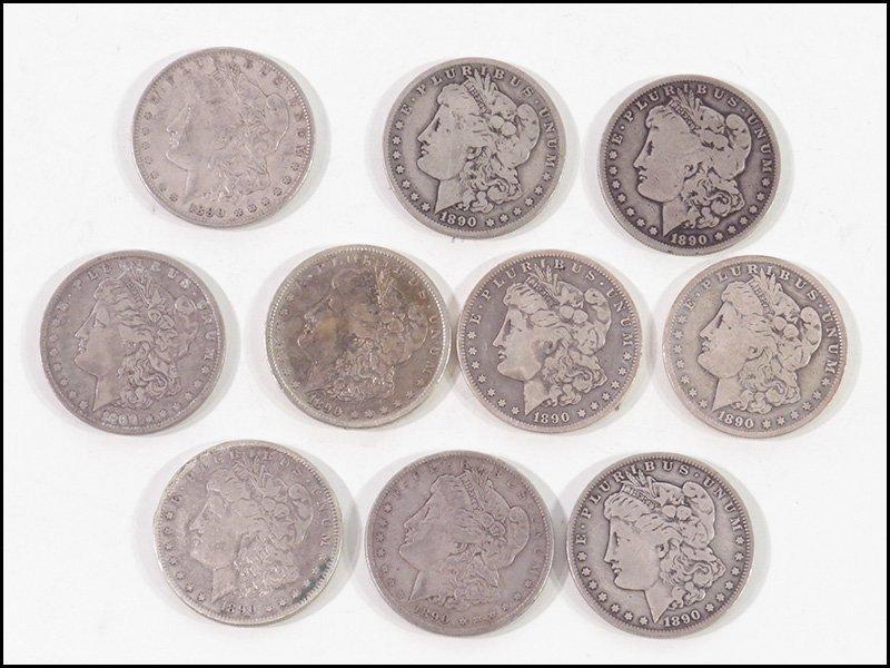 TEN MORGAN SILVER DOLLAR COINS.