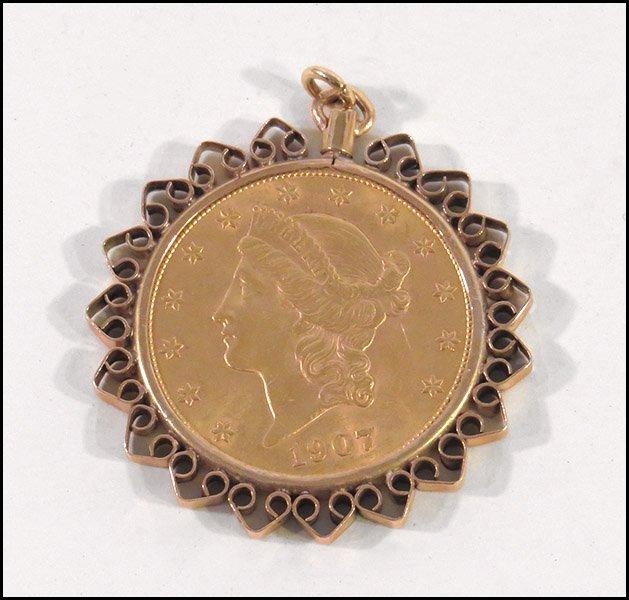 A 1907 LIBERTY HEAD 20 DOLLAR GOLD COIN.
