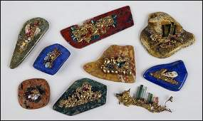 EIGHT SEMIPRECIOUS STONE SCULPTURAL OBJECTS