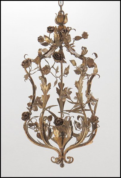 GILT METAL SINGLE-LIGHT CHANDELIER.