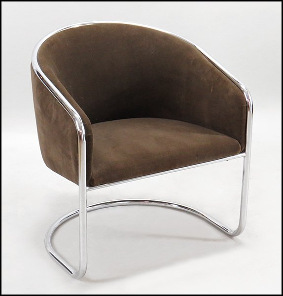 CONTEMPORARY CHROME AND BROWN ULTRA SUEDE CLUB CHAIR.
