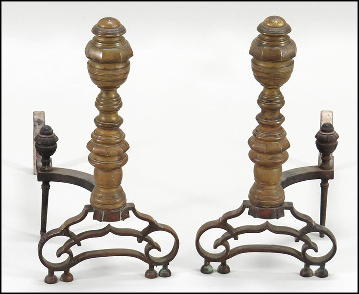 PAIR OF BRASS ANDIRONS.