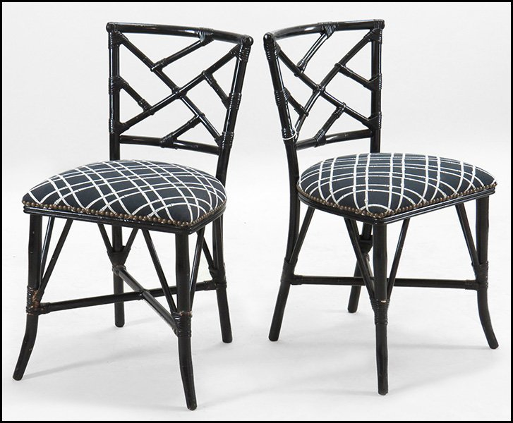 SET OF FOUR RATTAN SIDE CHAIRS.