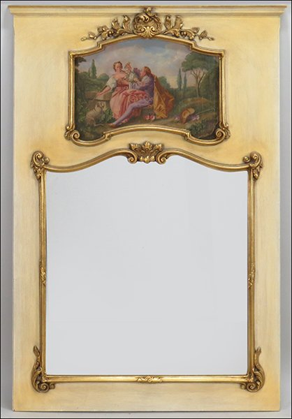 FRENCH STYLE GILT AND PAINTED TRUMEAU MIRROR.