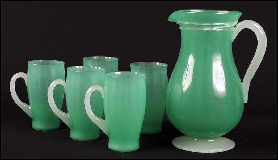 STEUBEN JADE AND ALABASTER LEMONADE SET.