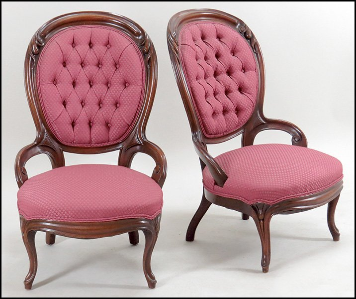 SET OF FOUR VICTORIAN BALLOON BACK PARLOR CHAIRS.