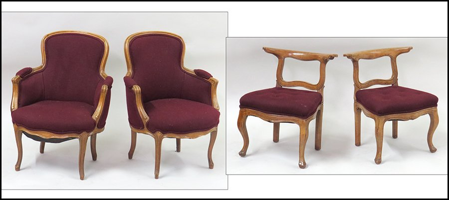 PAIR OF CARVED WALNUT FAUTEUILS.