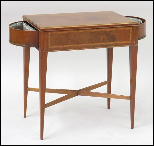 MAHOGANY SIDE TABLE WITH TWO BENTWOOD PLANTERS.
