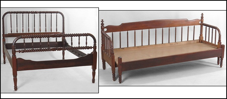 19TH CENTURY JENNY LIND STYLE SPOOL TURNED BEDFRAME.