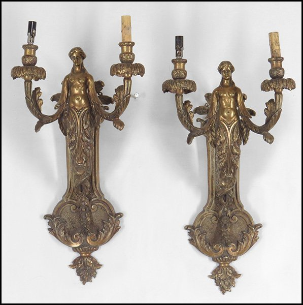 PAIR OF PATINATED BRONZE TWO-LIGHT FIGURAL WALL
