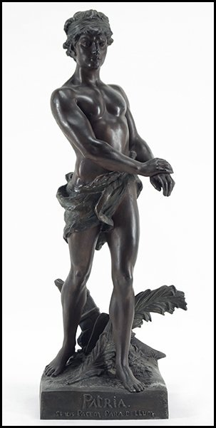 FRENCH PATINATED METAL SCULPTURE OF HIPPOLYTE.