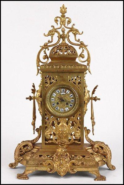 19TH CENTURY FRENCH GILT BRONZE MANTLE CLOCK.