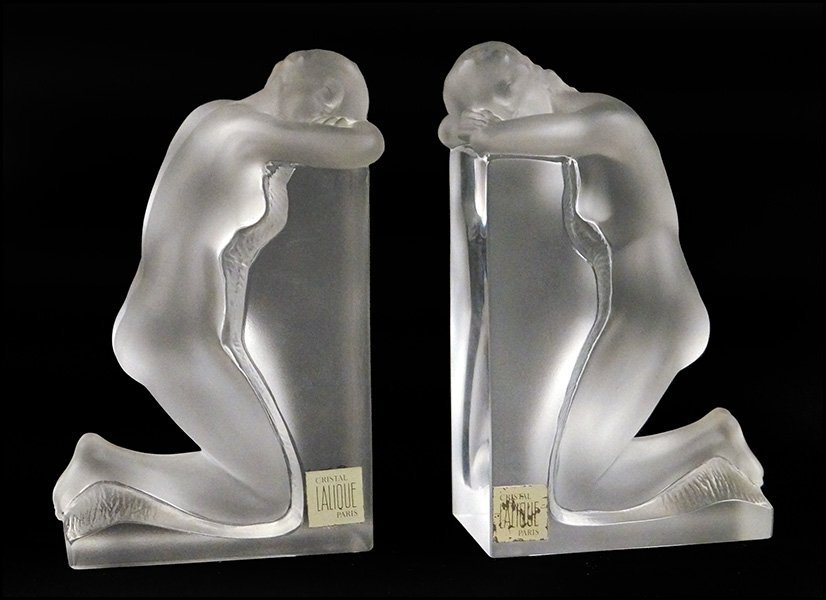 PAIR OF LALIQUE CRYSTAL 'VENUS' BOOKENDS.