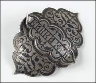 RUSSIAN SILVER AND NIELLO ENAMEL TWOPIECE BELT BUCKLE