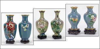 THREE PAIRS OF CHINESE CLOISONNE ENAMEL VASES
