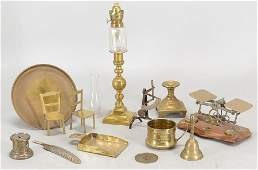 COLLECTION OF BRASS TABLE ARTICLES
