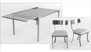 SET OF SIX BRUSHED STAINLESS STEEL DINING CHAIRS