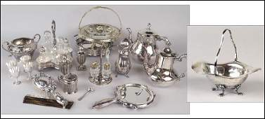 AN ENGLISH SILVER FOOTED BASKET.
