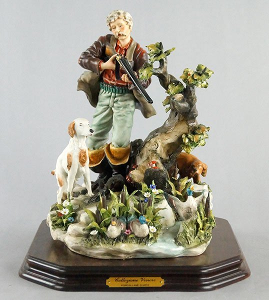 SIGNED CAPODIMONTE PORCELAIN FIGURE OF A DUCK HUNTER