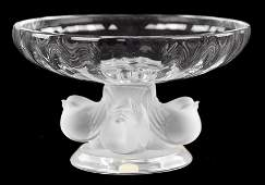 LALIQUE FRANCE FROSTED AND CLEAR CRYSTAL 'NOGENT'