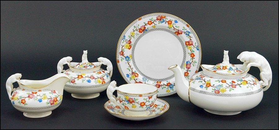SPODE COPELAND TEA SET BEARING FIGURAL HANDLES